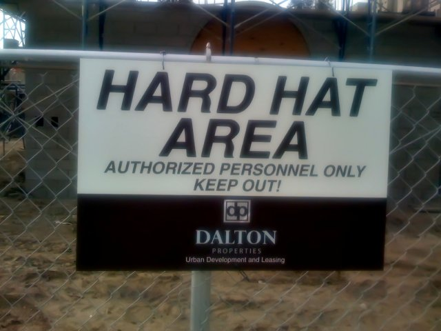 construction hard hat sign